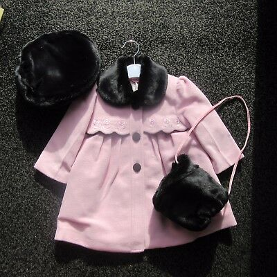 NEW AW2016 Jingles Girls Pink/ black Winter Coat,hat & hand warmer 18 MONTH