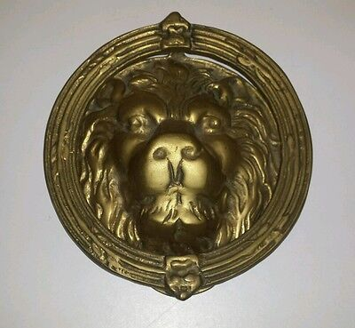 "Rare Vintage Large Solid Brass Lions Head Door Knocker Old Unique 7"" x 6 1/2"""