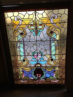 A.M. Six Antique Stainglass Landing Window Victorian