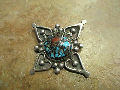 Exquisite Very OLD Navajo or Zuni Sterling Silver Turquoise & Coral Pin