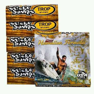 Sticky Bumps Hawaiian Tropical  Water special formula Surfboard Wax 18 pack