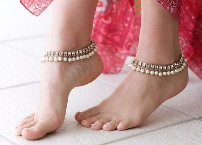 Indian Kundan gold tone rhinestone  and pearl wedding anklet.