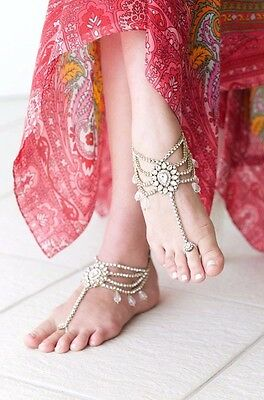 Indian Kundan gold tone rhinestone wedding anklet, Payal pair with toe ring