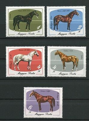 Horses set of 5 mnh stamps 1985 Hungary #2932-6