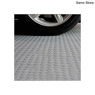 PVC Garage Workshop Flooring Easy Clean VersaRoll 228x610cm Non Slip Tread Plate