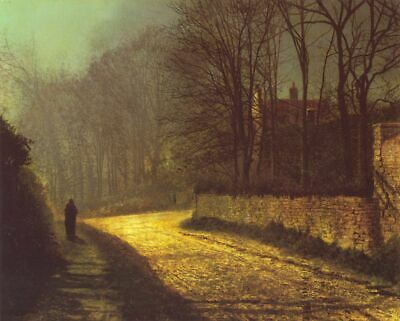 John Atkinson Grimshaw The Lovers  Painting Poster Fine Art Reprint A3 A4