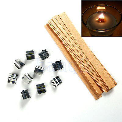 10 Set Wooden Wick Candle Core With Metal Sustainer Stand 12.5mmX150mm MA