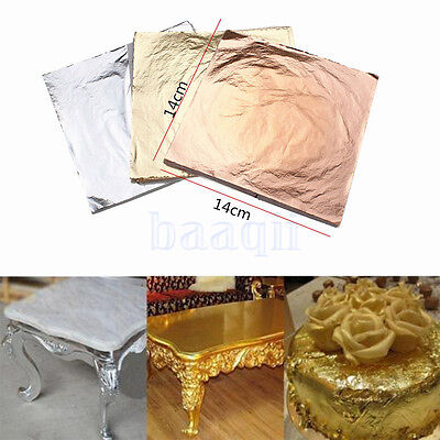 100PCS 14x14cm Gold/Silver/Copper Leaf Sheets Leaves Sheets Gilding Art Craft MA