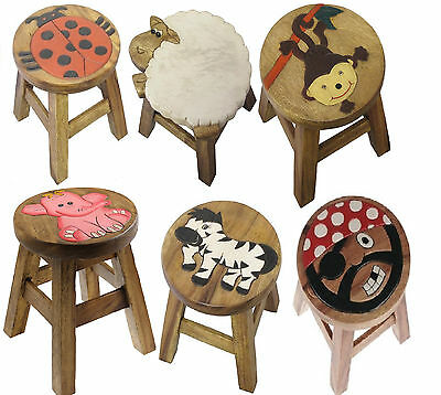 New Kids Apollo Small Wooden Animal Stool Hand Painted Design Child Seat Chair