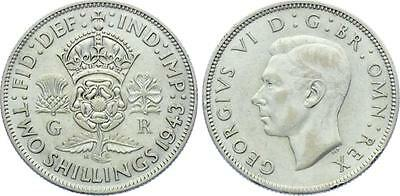COIN Great Britain 1 Florin / 2 Shillings 1943 KM# 855 Silver XF