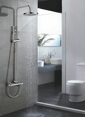 FoxHunter Modern Bathroom Mixer Shower Set Twin Head Round Chrome Thermostatic
