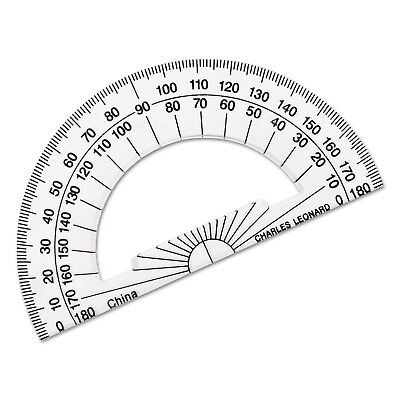 "Open Center Protractor, Plastic, 4"" Ruler Edge, Clear"