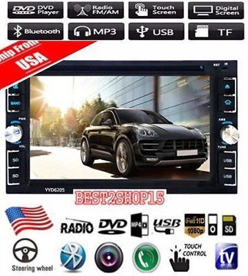 6.2'' HD Touch Screen Double DIN Car Stereo DVD CD MP3 Player Bluetooth Radio BT