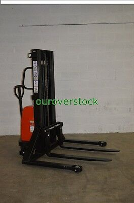"""Straddle Manual Push Electric Lift Stacker 2,200 lb 118"""" lift height"""
