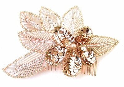 Rose Gold Hair Comb 1920s Sequin Great Gatsby Flapper Vintage Headpiece Clip 666
