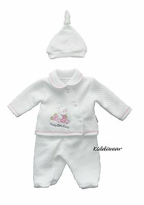 Baby girl 3 piece set hat pants top white pink early tiny newborn 3  5 lbs gift