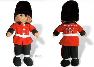 Personalised Rag Doll Soldier Outfit Christmas Pageboy Birthday Gift - 40cm Doll