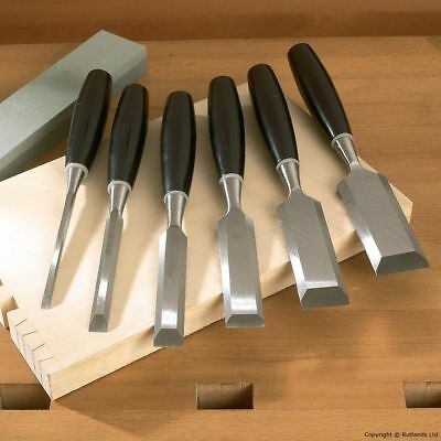 Set of 6 Wood Chisels with Sharpening Stone