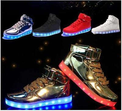 High Top LED Light Lace Up Unisex Sportswear Sneaker Casual Luminous Shoes