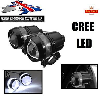2x CREE U3 LED 12V 30W Motorcycle Angel Eye Driving Fog Spot White Headlights UK