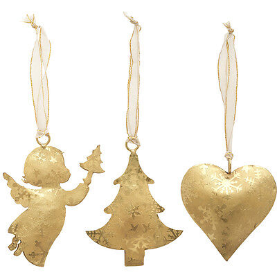 Set of 3 Gold Christmas Decorations Vintage Metal Hanging Heart Angel & Tree