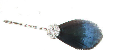 Navy Blue Black Lady Amherst Pheasant Feather Hair Clip Fascinator Pin Vtg 674