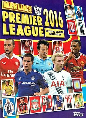 Merlin Premier league 2016 stickers complete set england