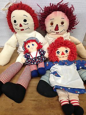 Vintage RAGGEDY ANN & ANDY Lot 4 Dolls ~ Free Shipping!!!