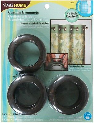 Dritz 44450 Round Curtain Grommets, Rustic Brown, 4cm , 8-Pack. Delivery is Free
