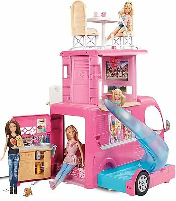 Barbie Pop-Up Camper Vehicle Van Pink RV Play Set Toy Three Story