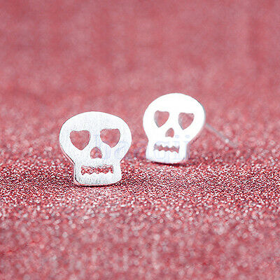 2Pc Men Gilrs Unisex Small Hollow 8mm Skull Silver Plated Earrings Ear Studs MA