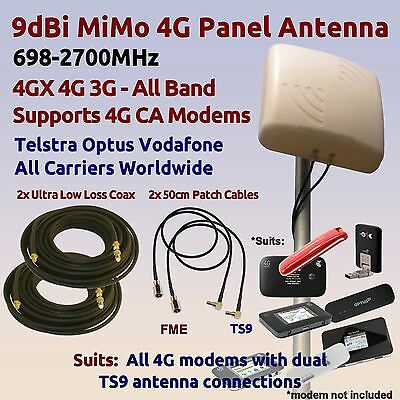 9dBi 4GX 4G 3G All Band MiMo Antenna to suit 4G modems 2x Coax 2x TS9 Patch Lead