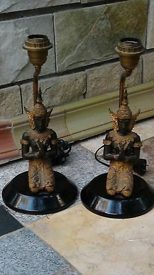 Pair Antique Asian Thai Figural Gilt Bronze Table Lamps