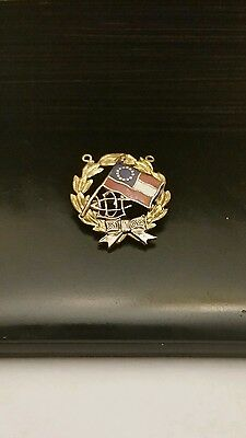 1898 UDC United Daughters Of The Confederacy Enamel Marked Gold Brass Medal Pin