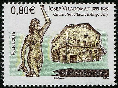 Josep Vilodomat Nude Sculpture mnh stamp 2016 Andorra (French) Art Center