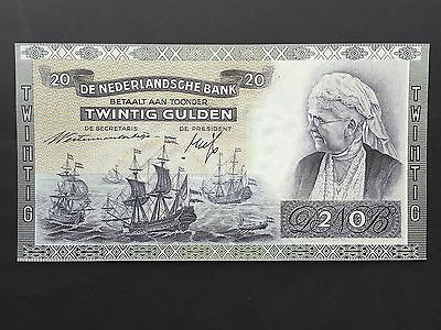 Netherlands 20 Gulden P54 Serial No. HU070366 Dated 19th March 1941 UNC