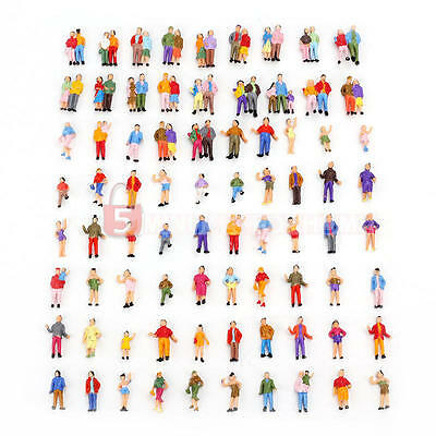 100x Building Layout Model People Train 1:87 HO Scale Mixed Painted Paint Figure