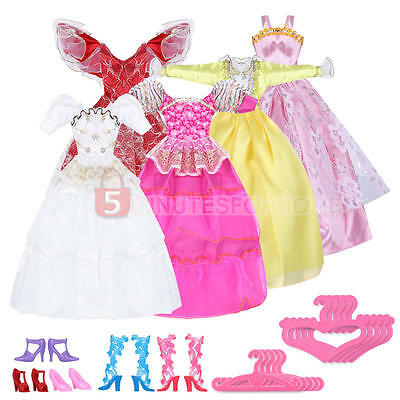 Princess 5xWedding Gown Dresses Clothes+5Pair Shoes Outfits+5xHangers For Barbie