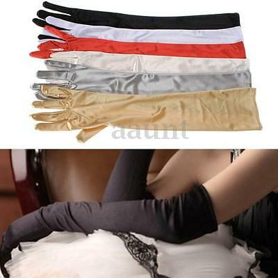 "22"" Long Stretch Satin Bridal Weeding Halloween Costume Prom Dress Opera Gloves"