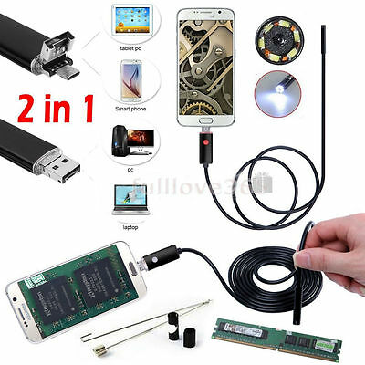 5m 6LED Android Endoscope Waterproof Inspection Camera Micro USB Video Camera@