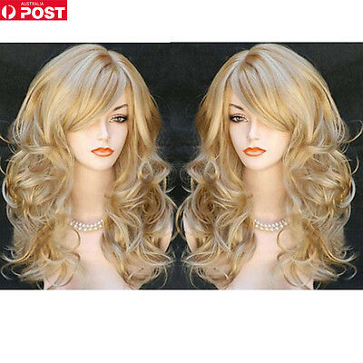 Fashion Women Long Curly Wavy Hair Cosplay Party Costume Wigs Full Wig Gold New