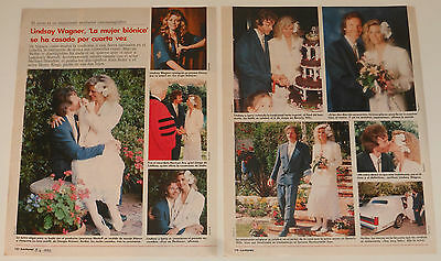 LINDSAY WAGNER Wedding 1990 3 page article The Bionic Woman TV Series clipping