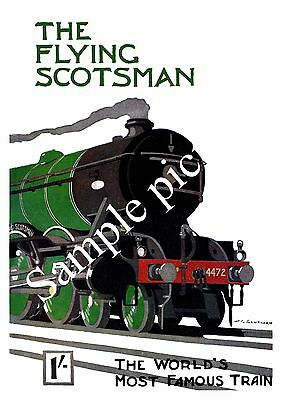 The Flying Scotsman, Vintage Railway advert , Reproduction poster, Wall art.