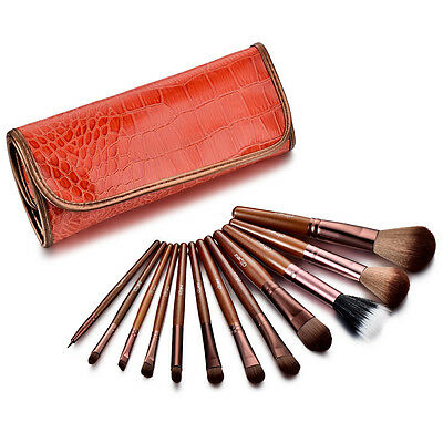 Glow 12 Tan Professional Makeup Brushes Set in Crocodile Leather Design Case