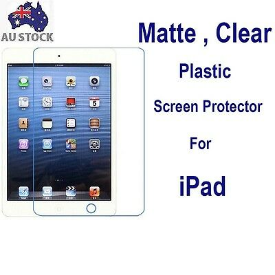 "2x Matte Clear Plastic Screen Protector iPad Air 1 2 iPad Pro 9.7"" 12.9"