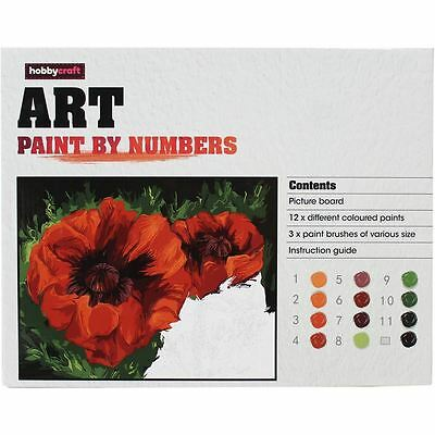 Hobbycraft Poppy Paint By Numbers Picture Board 12 Colours Craft Painting