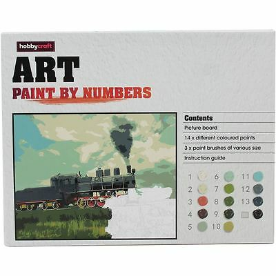 Hobbycraft Train Paint By Numbers Picture Board 14 Colours Craft Painting