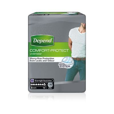 Depend Mens Incontinence Pants Super Large/Extra Large - Pack of 9