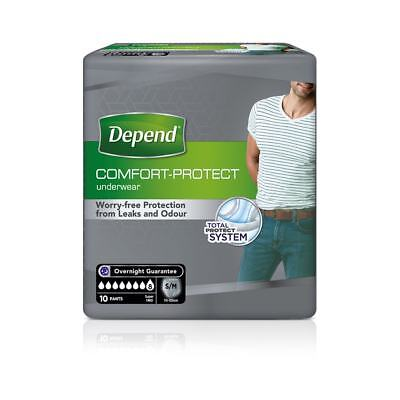 Depend Mens Incontinence Pants Super Small/Medium - Pack of 10