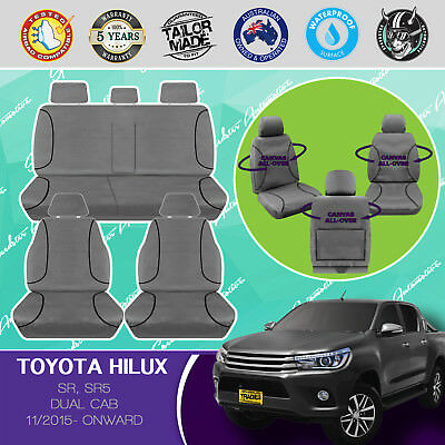 Heavy-Duty Canvas Seat Covers Custom Fit Toyota Hilux Dual Cab 11/2015- Current